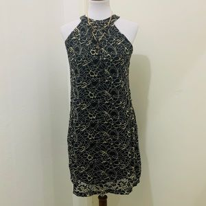 Women BCX Black/Gold Lace Dress.